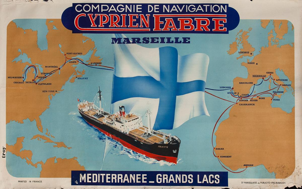 Compagnie De Navigation Cyprien Fabre Marseille Travel Poster