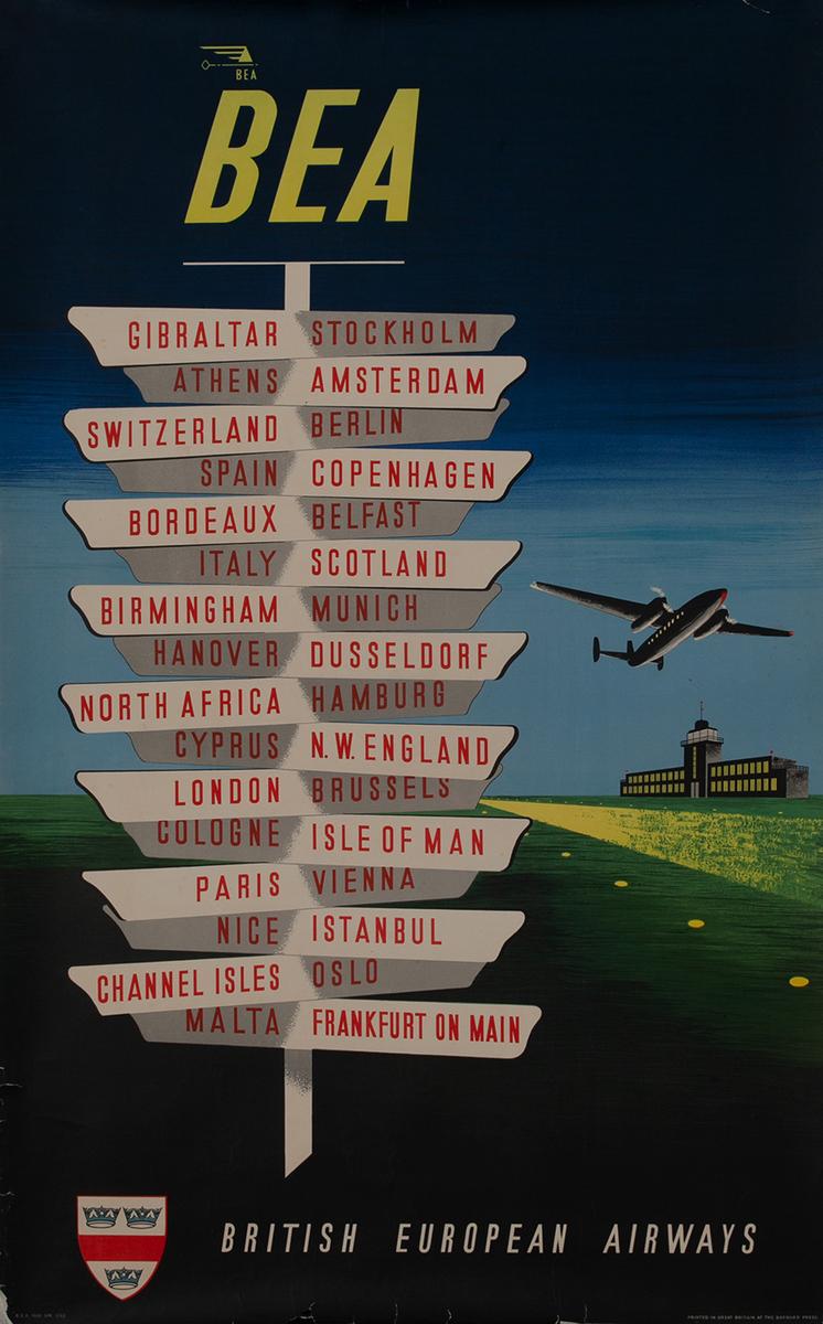 BEA British European Airways Travel Poster, Sign Posts