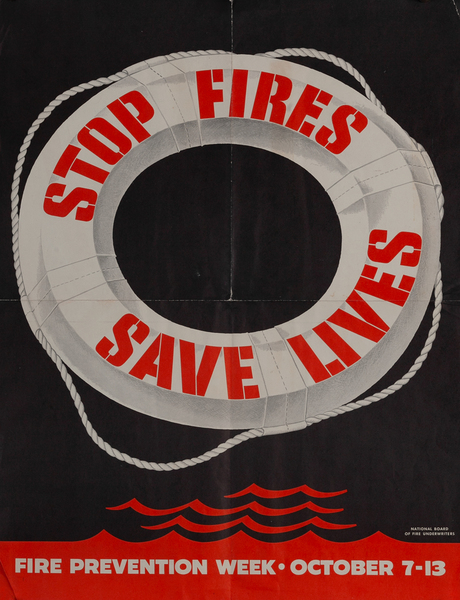 Stop Fires Save Lives, Fire Prevention Week Poster