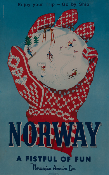 Norway A Fistful of Fun, Ski Travel Poster