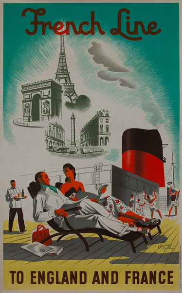 French Line to England and France, Travel Poster