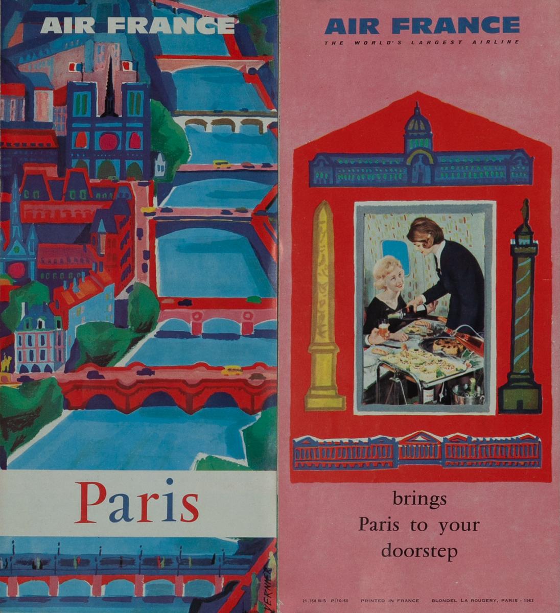 Air France Travel  Brochure Paris Bridges