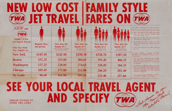 TWA New Low Cost Family Style Jet Travels Fares -1965 World's Fair