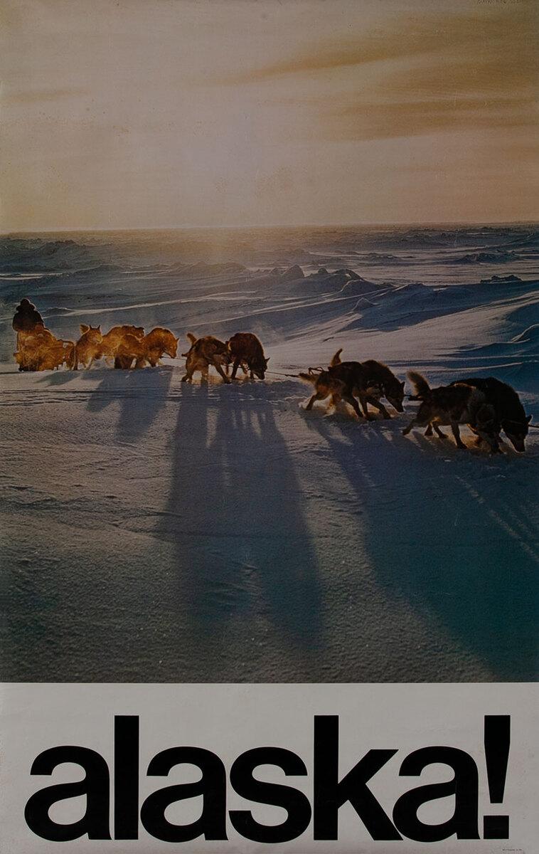 Alaska! Travel poster, dogsled