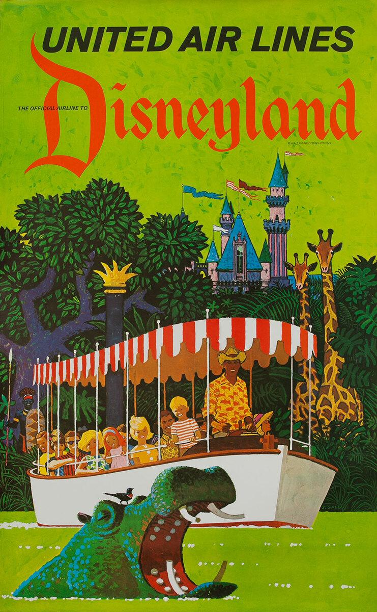 United Air Lines Disneyland Poster Walt Disney Productions