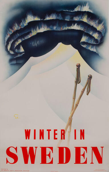 Winter in Sweden, Northern Lights Travel Poster