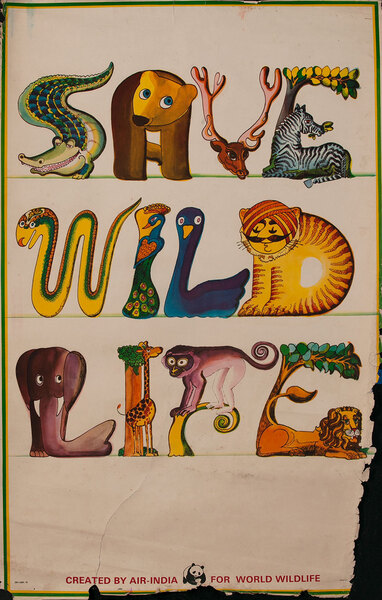 Air India Save Wild Life - World Wildlife Fund Poster