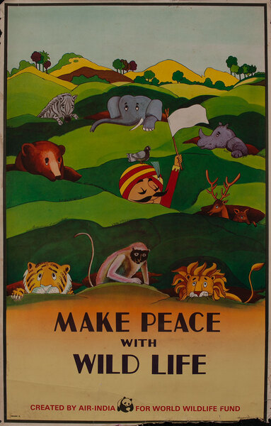Air India Make Peace with Wild Life - World Wildlife Fund Poster