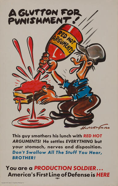 A Glutton for Punishment! - Production Soldier WWII Homefront Poster