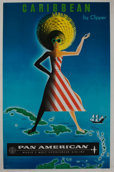 Caribbean by Clipper Pan American World Airways Poster