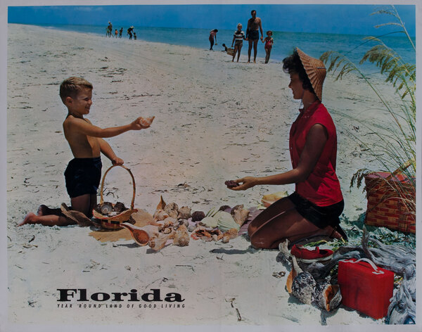Florida, Year Round Land of Good Living, mother and child on beach