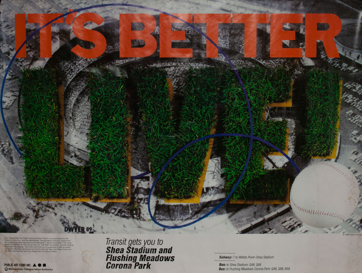 (Baseball) It's Better Live! NYC MTA Subway Poster