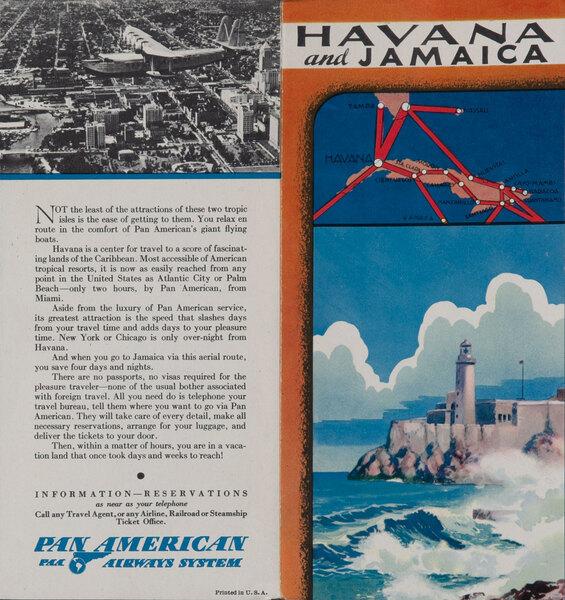 Pan American Airways Travel Brochure Havana and Jamaica