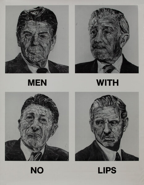 Men with no lips, protest poster