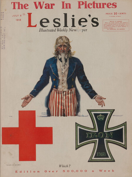 Leslie's Magazine Cover Uncle Sam - The War in Pictures Which?  Red Cross or Iron Cross
