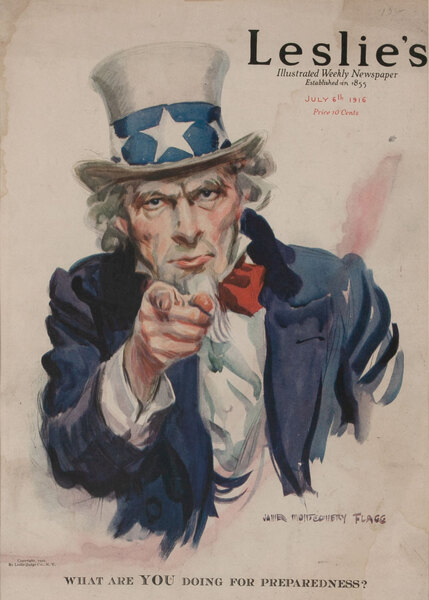 Leslie's Magazine Cover Uncle Sam - What Are YOU Doing for Preparedness?
