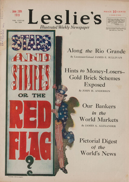 Leslie's Magazine Cover Uncle Sam - Stars and Stripes or the Red Flag
