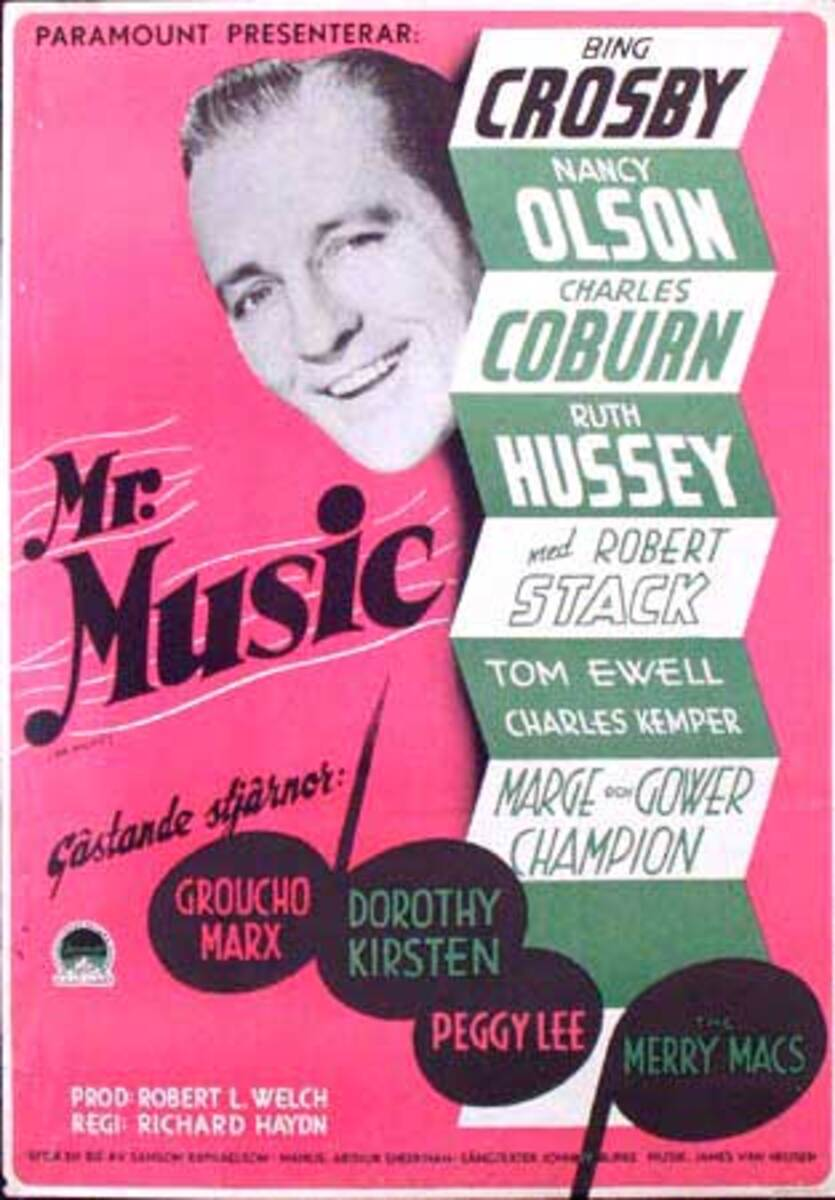 Mr. Music Original Vintage Movie Poster Swedish Release