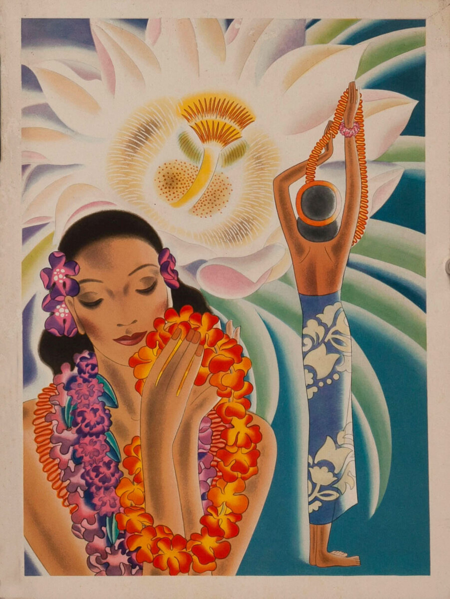 Cruise Line Daily Menu - Woman with leis and flower