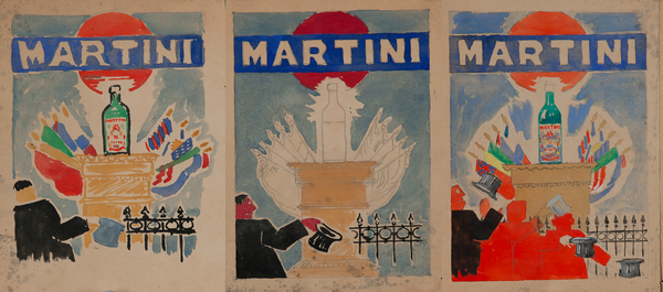 Martini & Rossi Original Watercolor and Pencil Triptych Maquette -