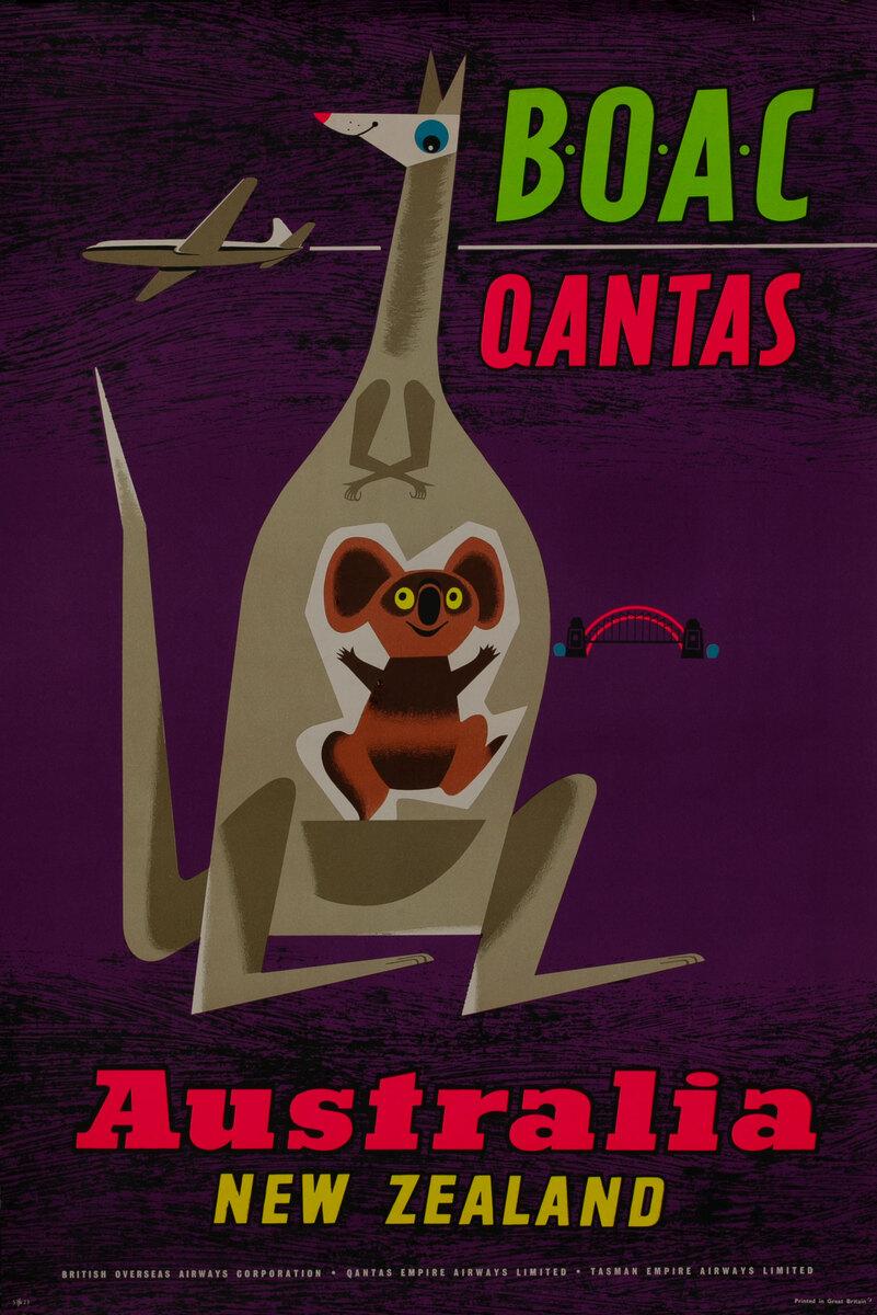 BOAC Qantas Australia And New Zealand Kangaroo and Koala Bear