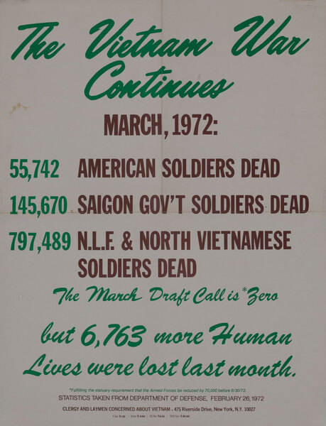 The Vietnam War Continues - Original American Anti-Vietnam War Protest Poster March, 1972