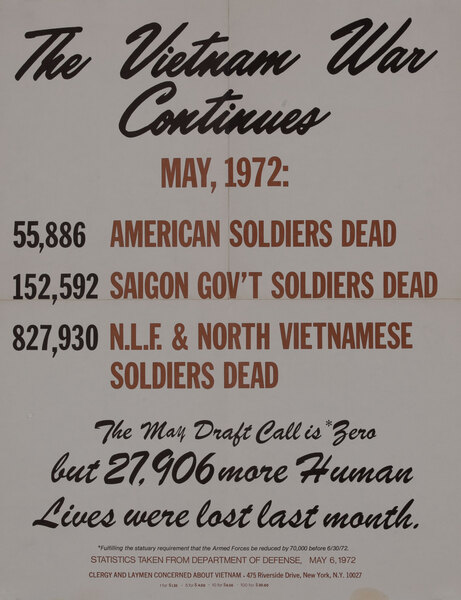 The Vietnam War Continues - Original American Anti-Vietnam War Protest Poster May 1972