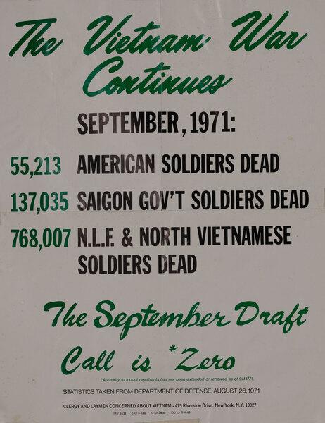 The Vietnam War Continues Pray For Peace Original American Anti-Vietnam War Protest Poster, September 1971