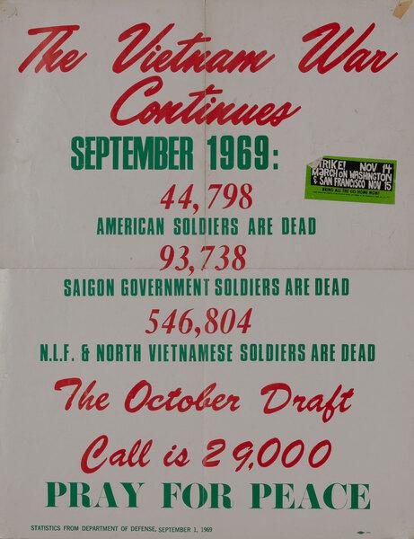 The Vietnam War Continues Pray For Peace Original American Anti-Vietnam War Protest Poster, September 1969