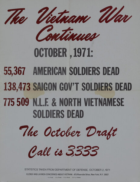 The Vietnam War Continues Pray For Peace Original American Anti-Vietnam War Protest Poster, October 1971