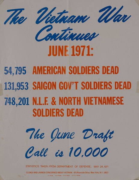 The Vietnam War Continues - Original American Anti-Vietnam War Protest Poster June 1971