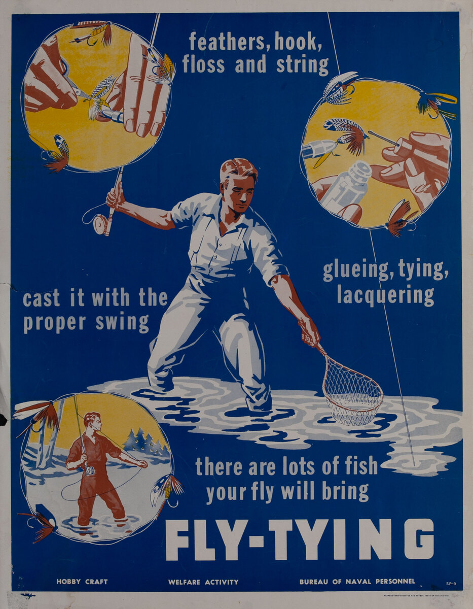 Bureau of Naval Personnel Welfare Activity Poster Fly-Tying