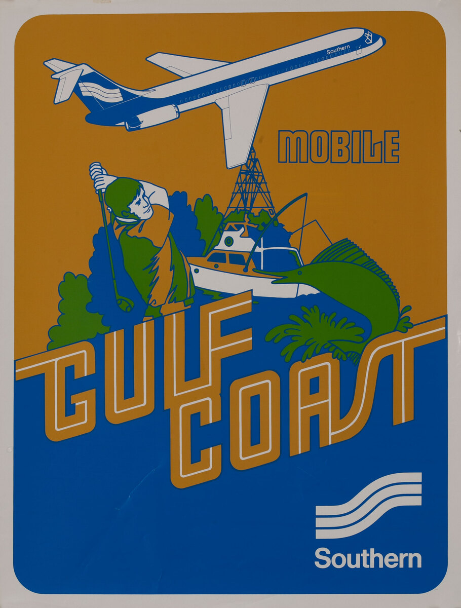 Southern Airways Original Travel Poster Mobile Gulf Coast