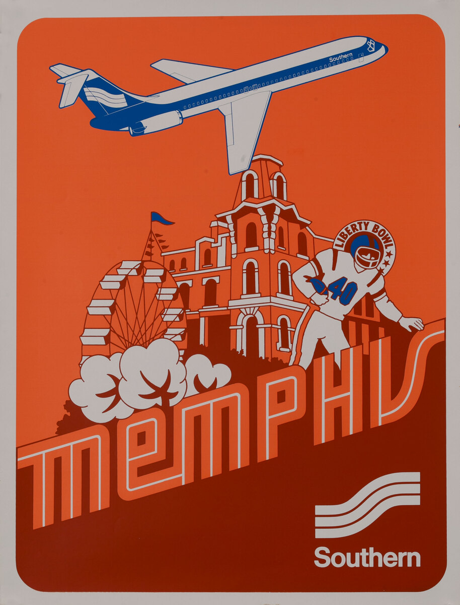 Southern Airways Original Travel Poster Memphis