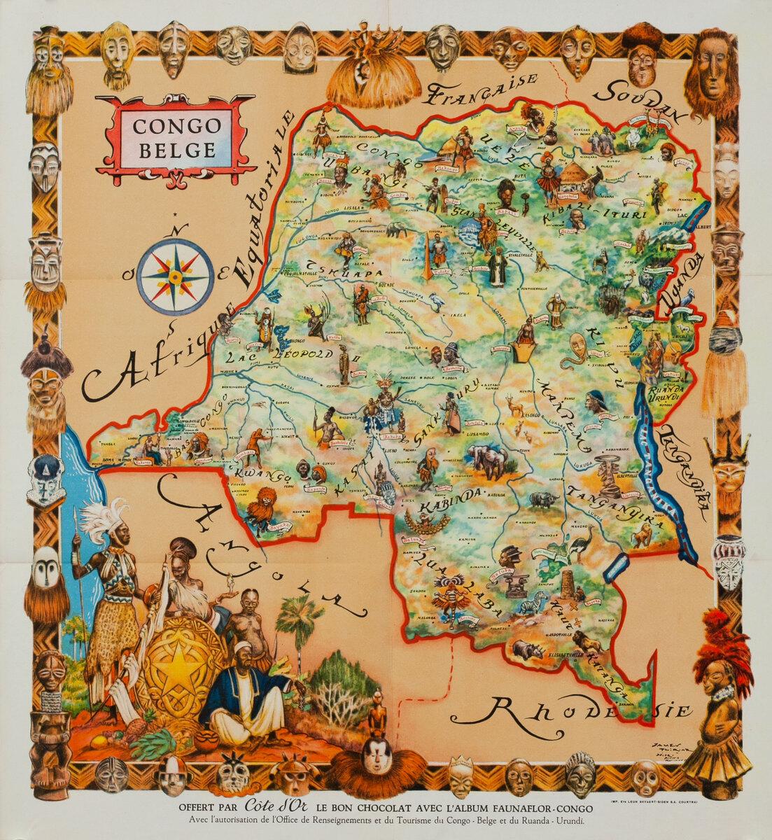 Congo Belge Poster Map