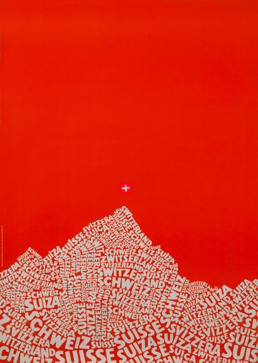 Swiss Travel Poster mountain text red