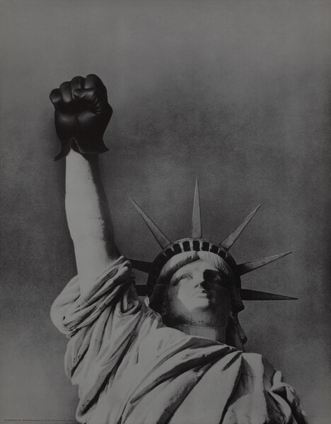 Statute of Liberty Raised Black Gloved Fist Protest Poster