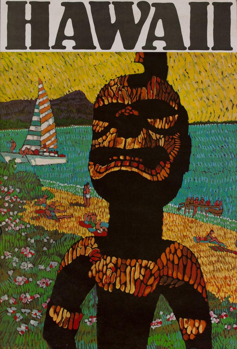 HAWAII Tiki statue and sailboat