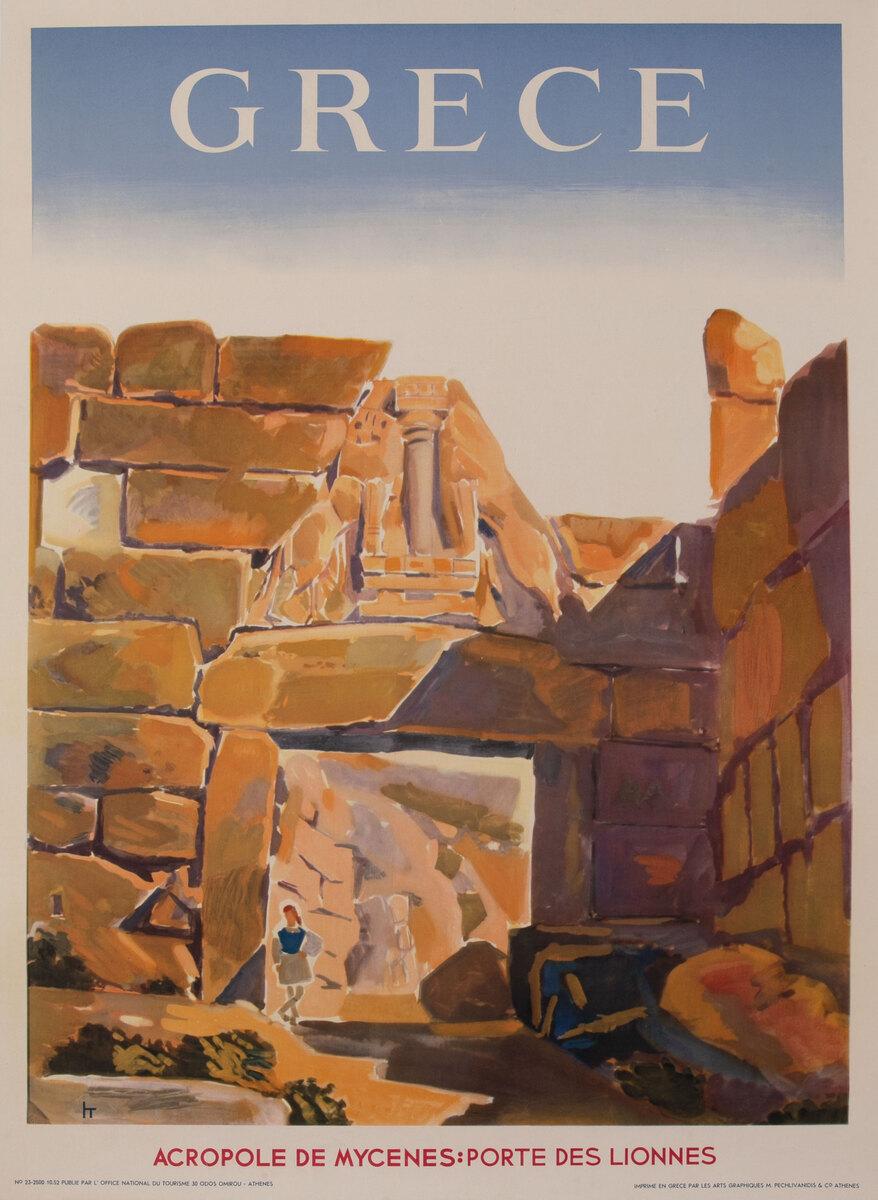 Grece Acropole de Mycenes Porte Des Lionnes