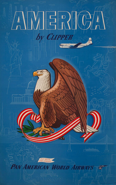 America By Clipper Pan American World Airways  -  Bald Eagle