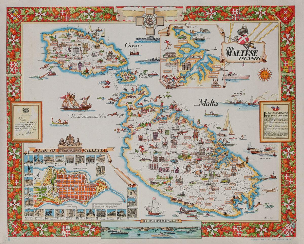 The Maltese Islands Malta Travel Map Poster