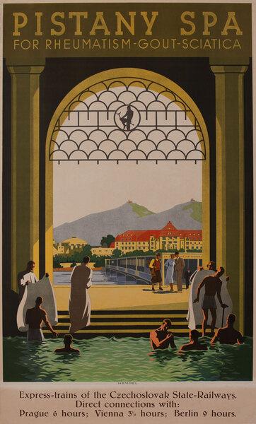 Pistany Spa For Rheumatism - Gout - Sciatica Czech Travel Poster Czechoslovakia