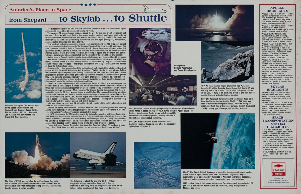 from Shepard to Skylab to Shuttle  - Chevrolet Giveaway Poster