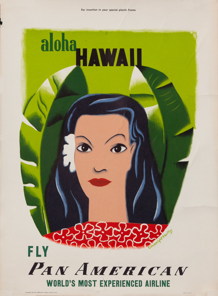Aloha Hawaii Fly Pan American World's Most Experienced Airline, small size