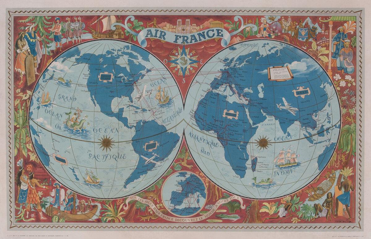 Air France Planosphere Route Map - Sur les Ailes d'Air France Decouvrez le Monde a Votre Tour.