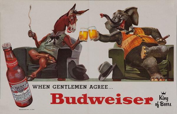 When Gentlemen Agree.. Budweiser King of Beers Poster