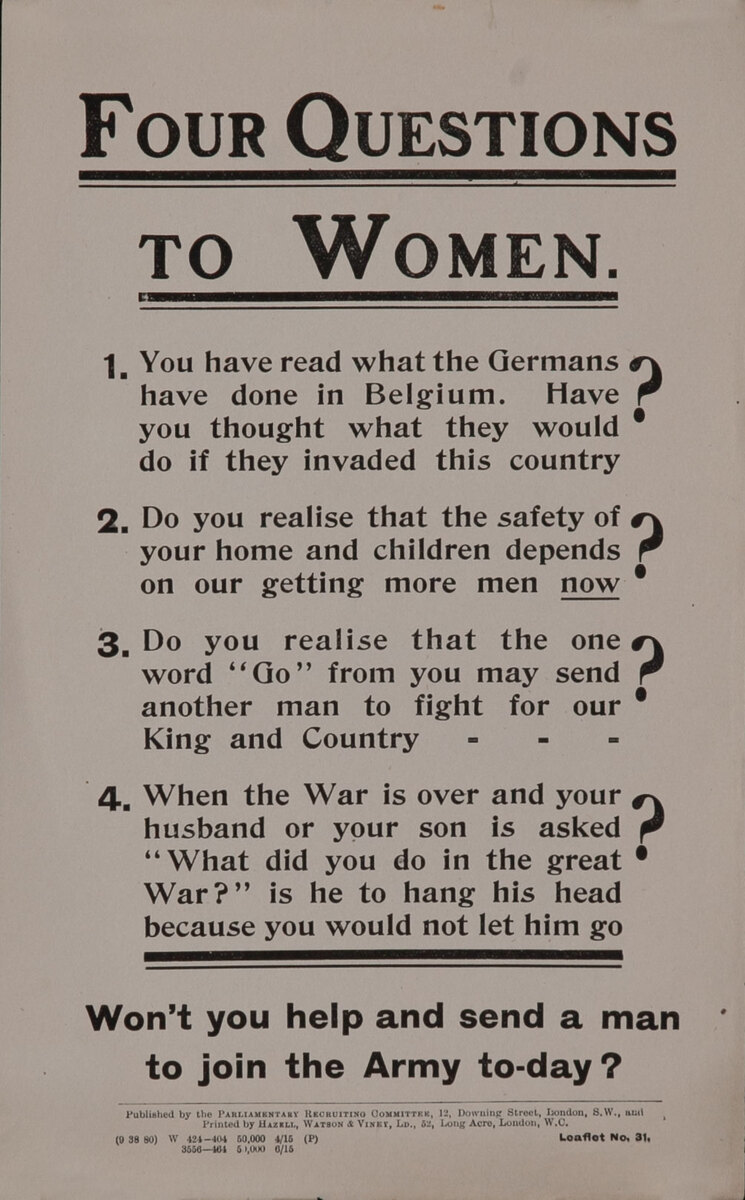 Four Questions To Women  - British WWI Parliamentary Recruiting Committee Leaflet N0 31