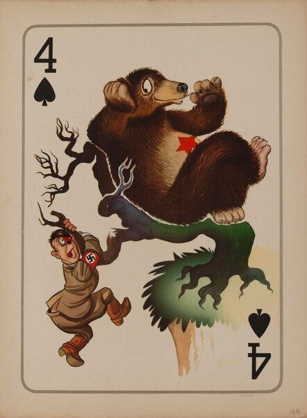 4 Spades WWII Satire Playing Card - Hitler with Russian Bear