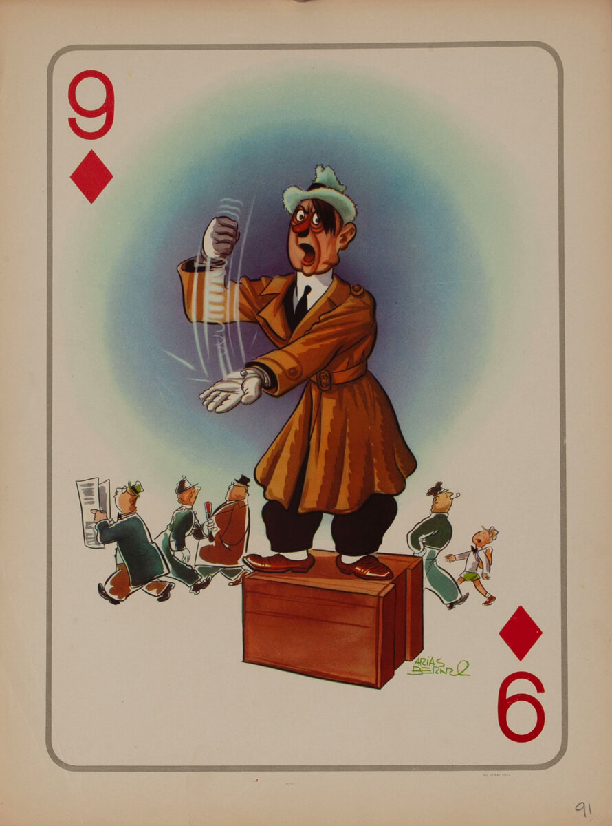 9 Diamonds Hitler the Politician - WWII Satire Playing Card