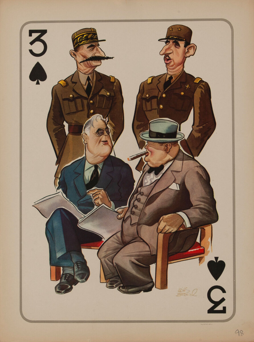 WWII Satire Playing Card - Three of Spades